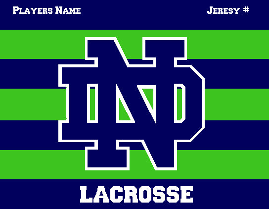 Custom Notre Dame Men's Striped Lacrosse Navy & Kelly Name & Number 60 x 50