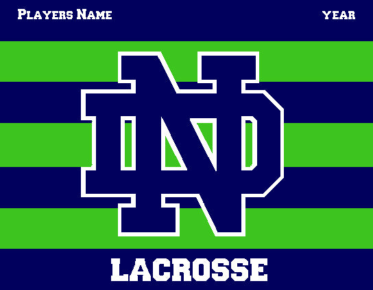 Notre Dame Men's Striped Lacrosse Navy & Kelly Customized Name & Year 60 x 50