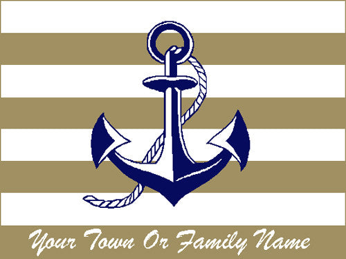 New Striped Anchor Beach Blanket Customized with your Town OR Family name (Khaki and Natural)