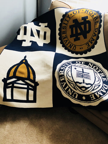 NEW ND Academic Patchwork Blanket  50 x 60