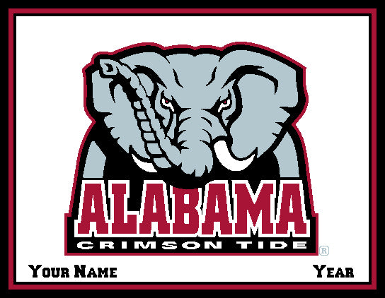 Alabama CUSTOMIZED Crimson Tide Blanket Natural 60 x 50