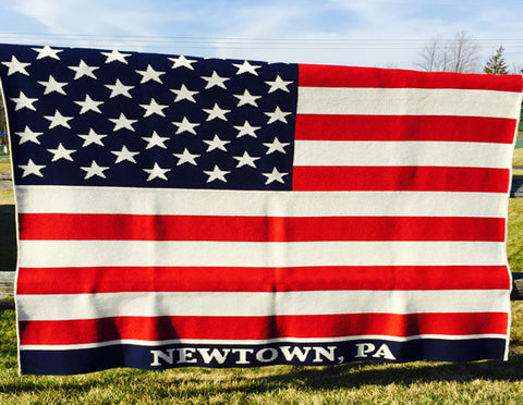 American Flag Blanket CUSTOMIZED with your TOWN 60 x 50