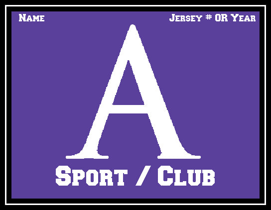 Amherst Any Sport /Club Customized with your Sport, Name, # OR Year 60 x 50