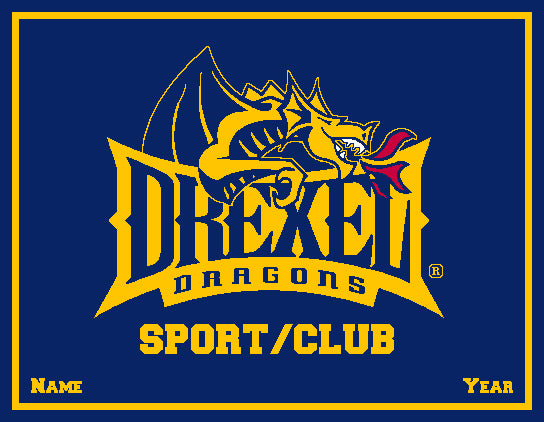 Custom Drexel Dragons ANY Sport /Club NAVY Base 60 x 50