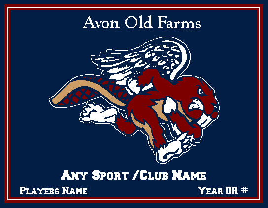 Custom Avon Old Farms ANY SPORT /CLUB Name & Number OR Year  60 x 50