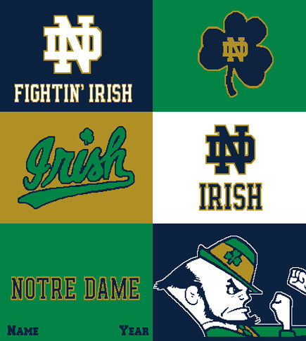 Notre Dame Athletic Mult Logo Blanket Customized with your Name and Year  50 x 60