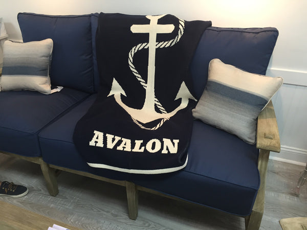 Anchor Beach Blanket Customized with your Town Name OR Family Name