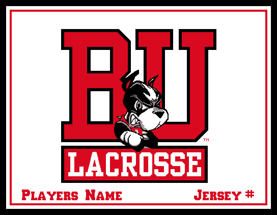 Custom BU Natural MEN's Lacrosse  Name & Number  60 x 50