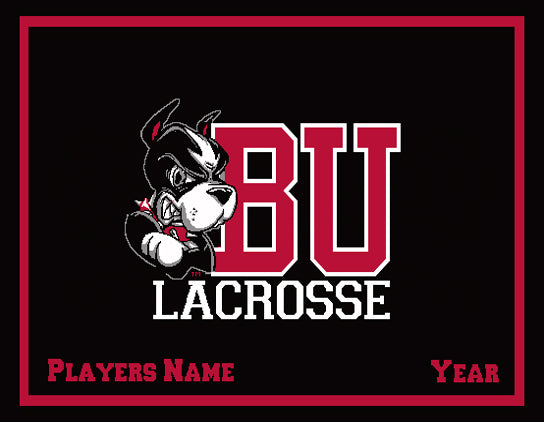 Custom BU Black MEN's Lacrosse Name & Year 60 x 50