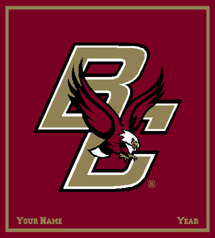 Boston College Eagle Blanket Burgundy Customized with your Name and Year 50 x 60