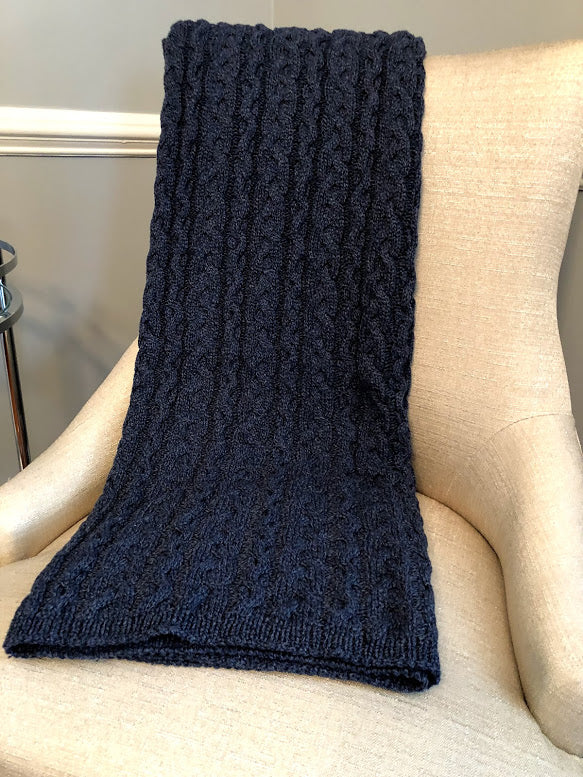Chunky Cable Blanket Denim - Recycled  Cotton