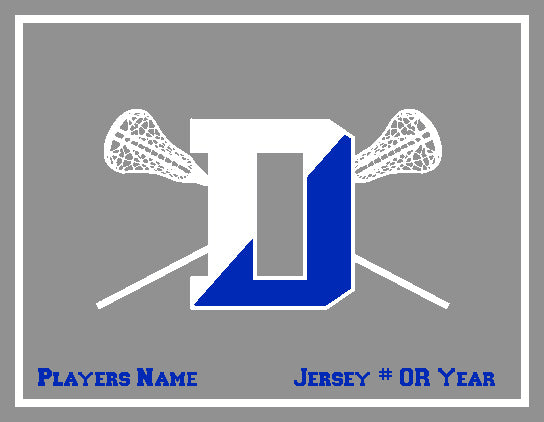 Custom Darien HS LAcrosse Stix Grey Base Name, # OR Year
