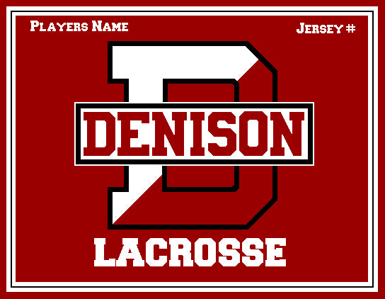 Custom Denison Lacrosse Red with Name and # 60 x 50