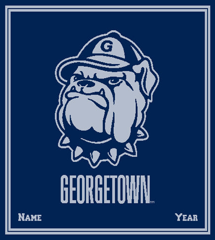 "Custom Georgetown  ""Jack the Bulldog"" Navy with Name and Year 50 x 60"