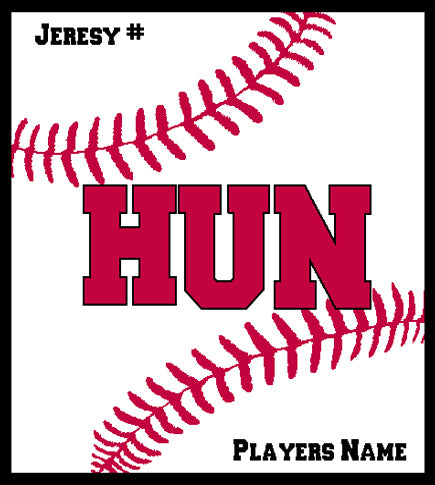 Hun School Softball Blanket 50 x 60  Customized Name & Number