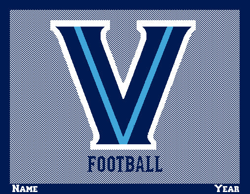 Villanova Home Collection Herringbone Football Name and Year 60 x 50