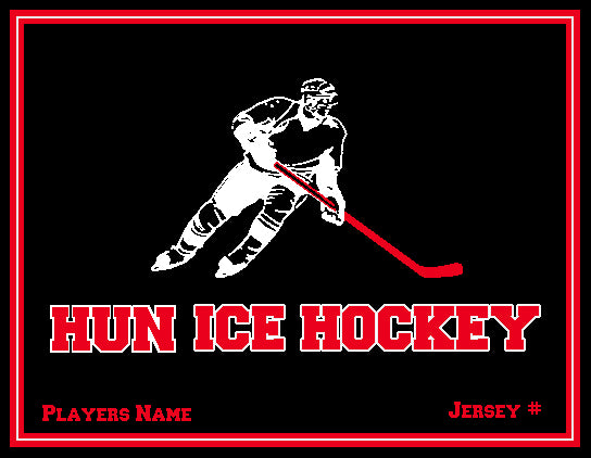 Hun School  Ice Hockey Blanket Customized Name & Number 60 x 50