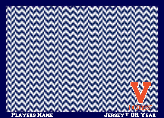 University of Virginia Lacrosse Navy Herringbone Base Name & Number OR Year 60 x 50