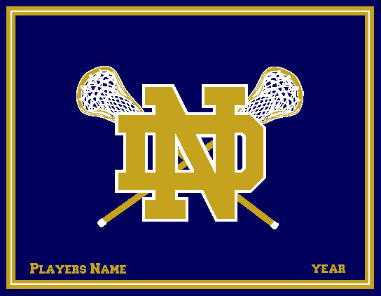 Custom Notre Dame Men's Lacrosse Crossed Sticks Name & Year 60 x 50