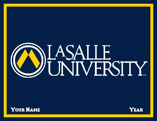 La Salle University  Navy University Logo Dorm, Home, Office, Alumni, Tailgate blanket customized with name and year