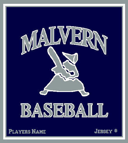 Malvern Baseball Blanket 50 x 60  Customized Name & Number