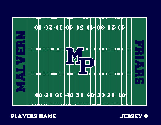 Malvern Football Field Blanket Customized Name & Number 60 x 50