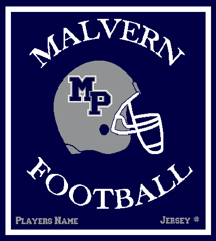 Malvern Football Blanket Customized Name & Number 50 x 60