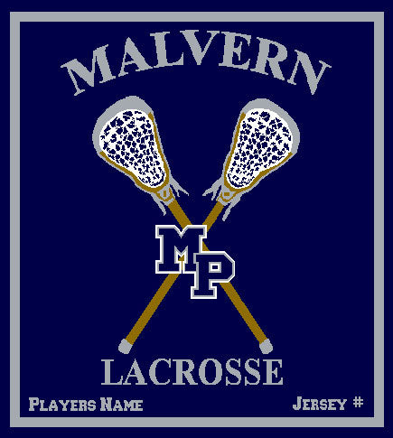 Malvern Lacrosse Blanket Customized Name & Number 50 x 60