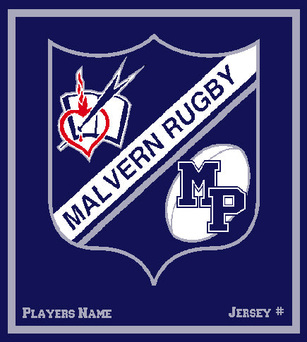 Malvern Rugby Blanket Customized Name & Number 50 x 60
