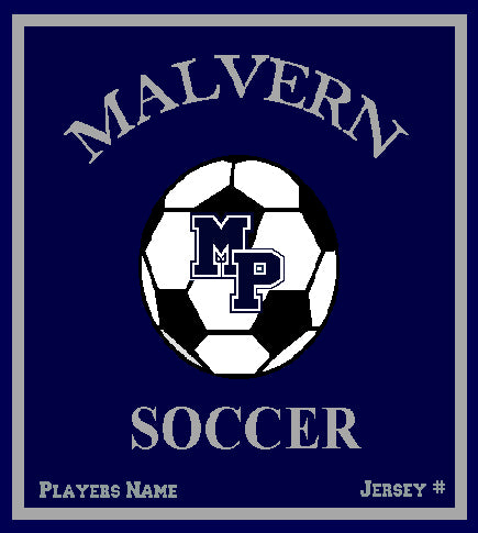 Malvern Soccer Blanket Customized Name & Year 50 x 60