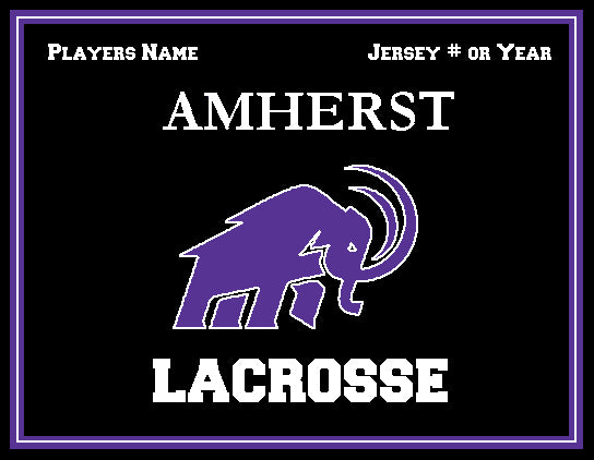 Amherst Men's Mammoth Lacrosse Customized with your Name, # ORYear Name & # OR Year