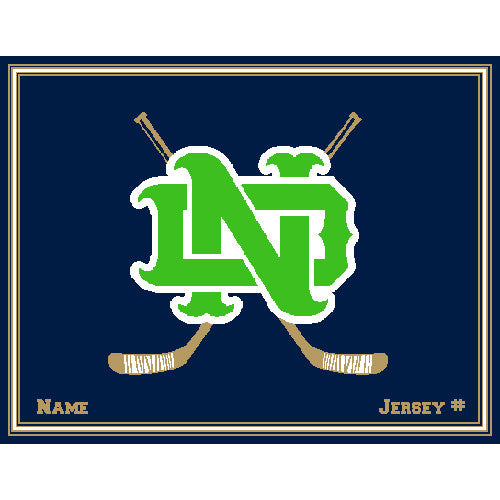 Notre Dame Hockey Kelly Customized with Name & Number 60 x 50