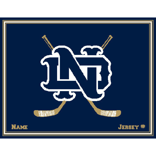Custom Notre Dame Hockey Navy Name & Number 60 x 50