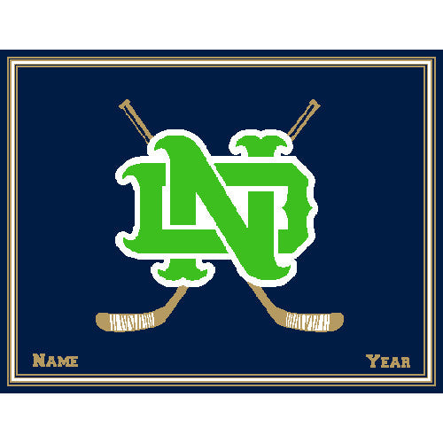 Notre Dame Hockey Kelly Customized with your  Name & Year 60 x 50