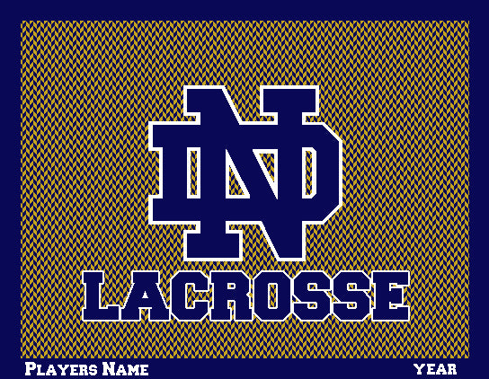 NEW Custom Notre Dame Men's Chevron Lacrosse Name & Year 60 x 50