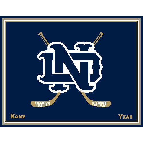 Notre Dame Hockey Navy Customized with your Name & Year 60 x 50
