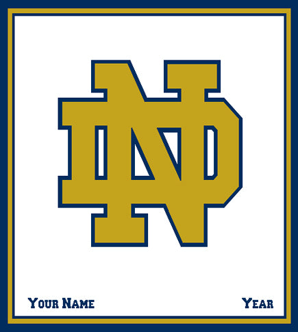 Notre Dame CUSTOMIZED Natural Base GOLD ND Blanket 50 x 60