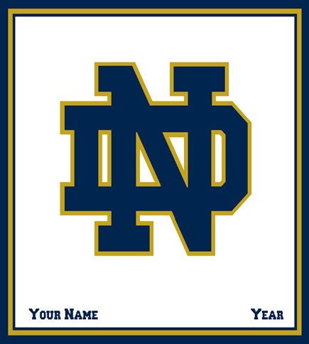 Notre Dame CUSTOMIZED Natural Base  NAVY ND Blanket 50 x 60