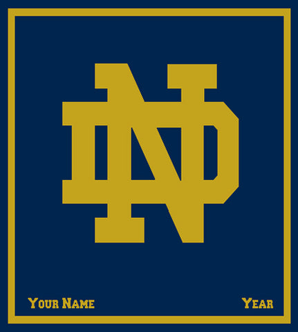Notre Dame CUSTOMIZED Navy Base  GOLD ND Blanket 50 x 60