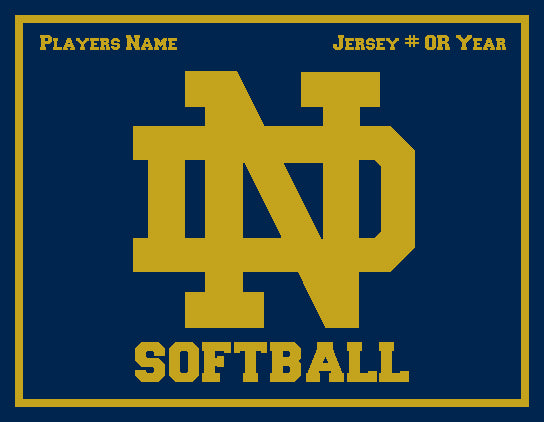Notre Dame Softball Monogram with Name and # OR Year 60 x 50