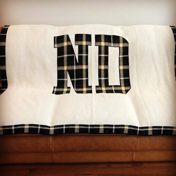 Notre Dame Plaid ND Customized with Name and Year 60 x 50