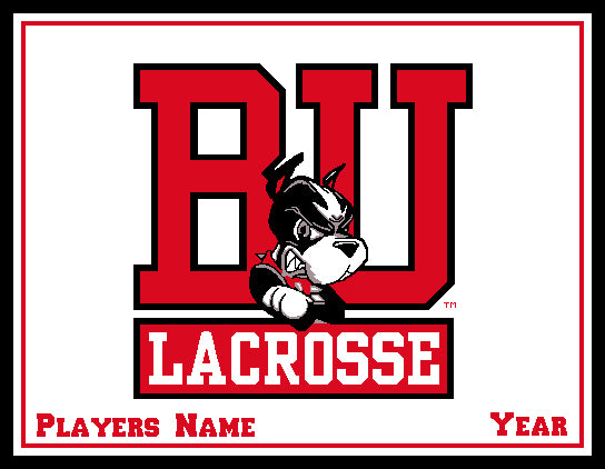 Custom BU Natural MEN's Lacrosse Name & Year 60 x 50