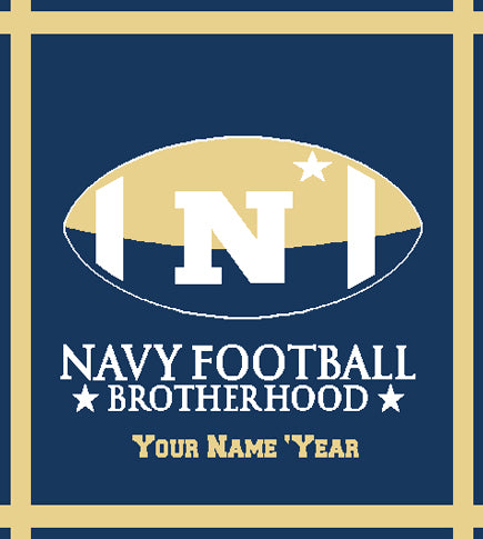 Custom Navy Football Brotherhood Name and Year 50 x 60