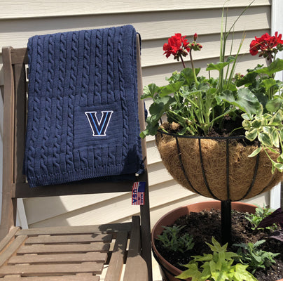 "Villanova Navy Embroidered ""V"" Cable Blanket"
