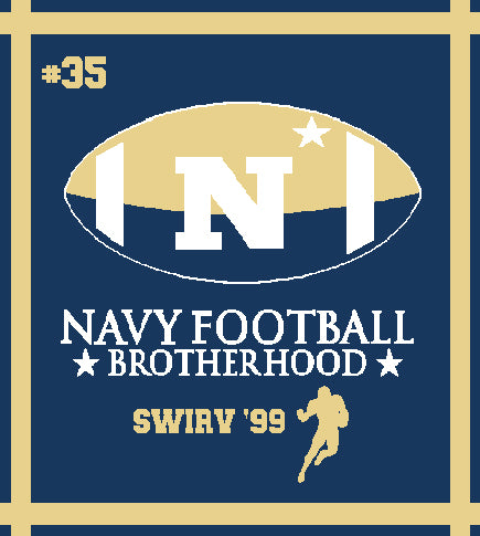 Custom Navy Football Brotherhood Number, Name, Year , Position 50 x 60