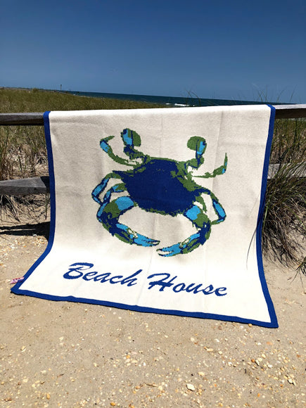Blue Crab Beach House  Blanket 50 x 60