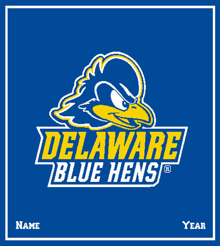 Custom University of Delaware Royal Blue Hens Name and Year  50 x 60
