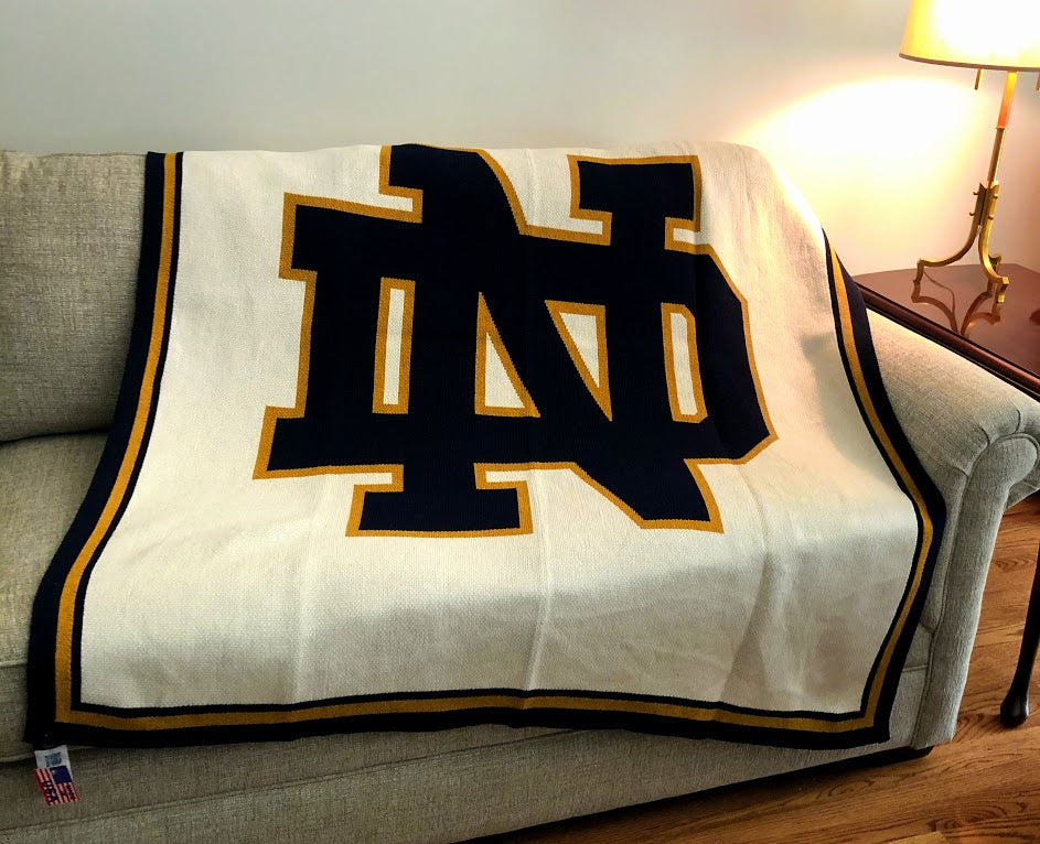 Notre Dame Natural Base  NAVY ND Blanket 50 x 60