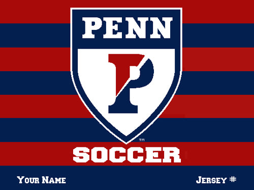 Custom PENN SOCCER Striped Athletic  Shield  Name & Number