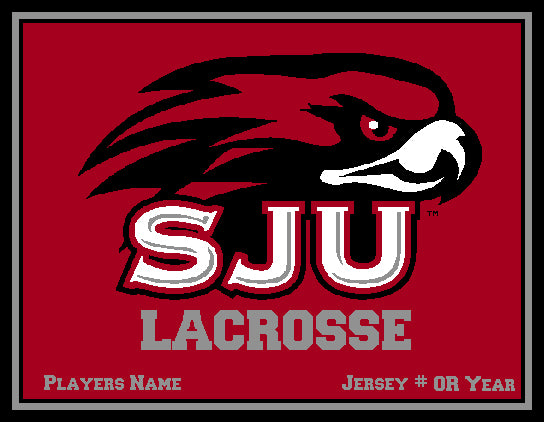 Custom Crimson SJU MEN's Lacrosse  Name & Number OR Year  60 x 50